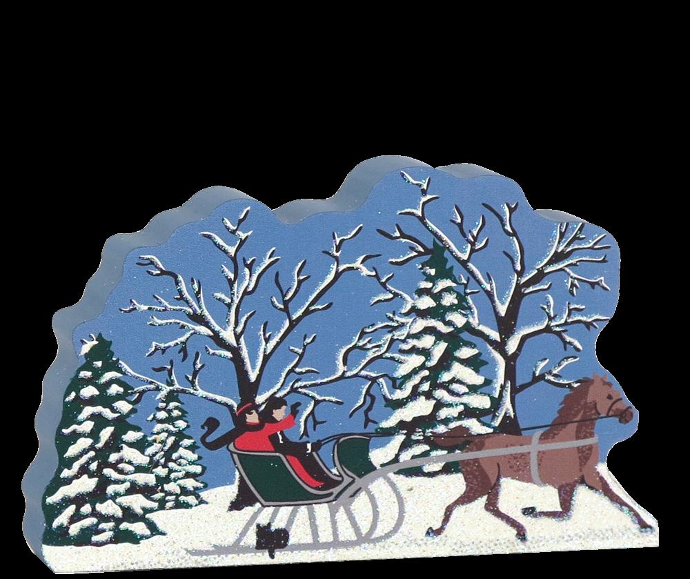 river winter horse sleigh  cats meow village