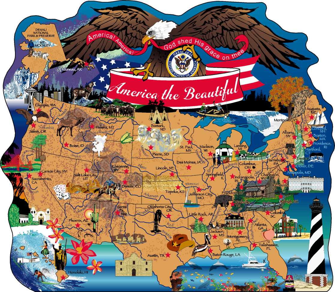 America The Beautiful Map | The Cat\'s Meow Village