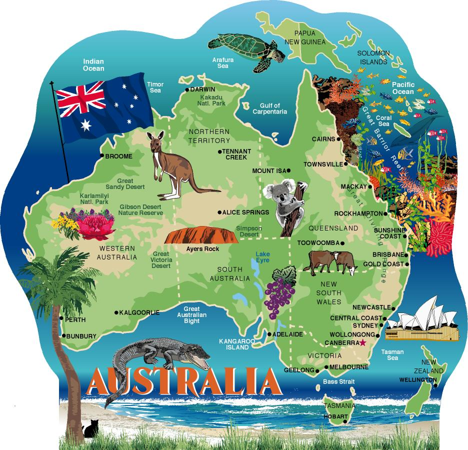 Map Of Australia Natural Features.Australia Map The Cat S Meow Village