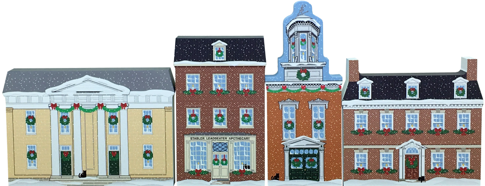 Historic Alexandria Christmas set shown setting side by side.