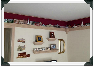 Drejas family Cat's Meow collection used as a border in their home.