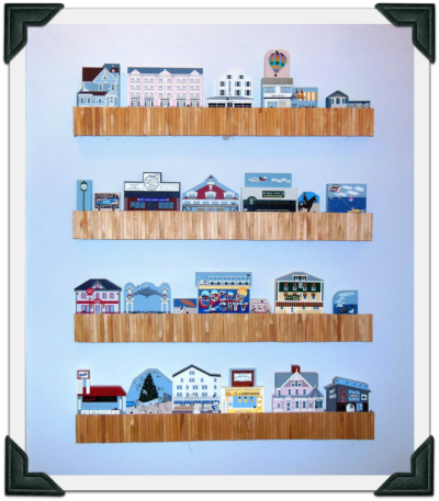 Bernice's handcrafted boardwalk shelf she made to display her coastal Cat's Meow collection.