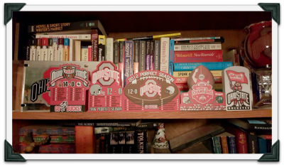Ohio State Buckeye Cat's Meows sitting pretty on Jeni's bookshelf.