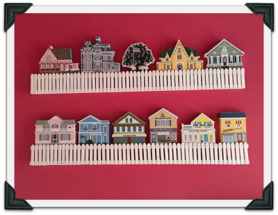 Handmade picket fence shelf Bernice created for her Cat's Meow collection.