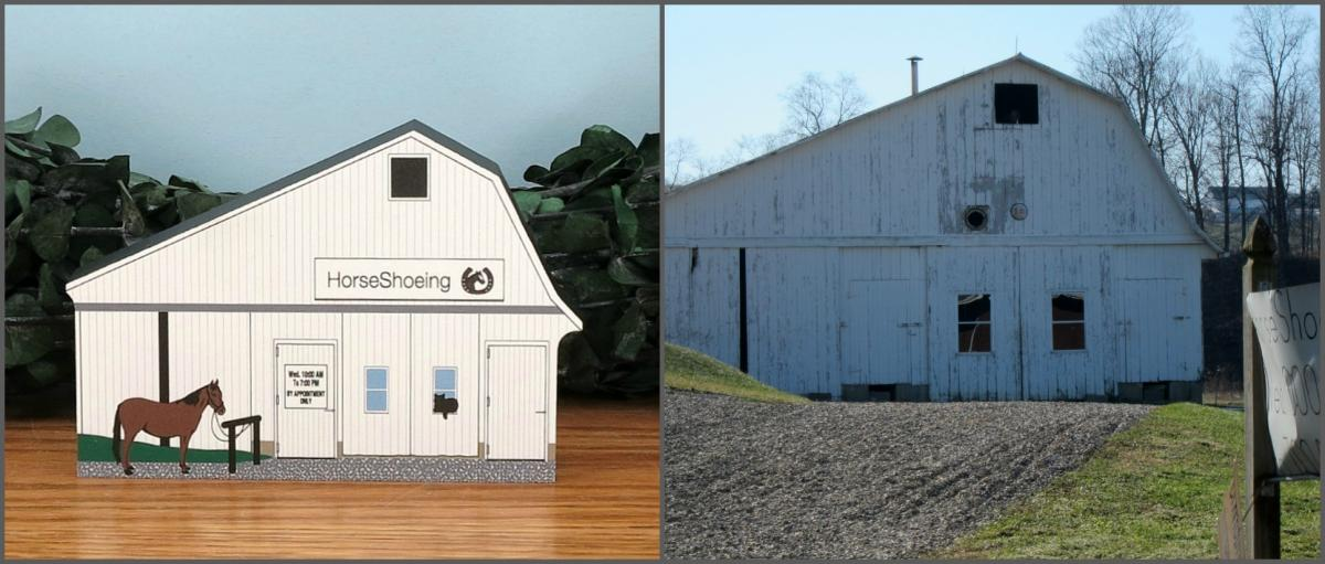 Cat's Meow HorseShoeing shop compared to actual photo