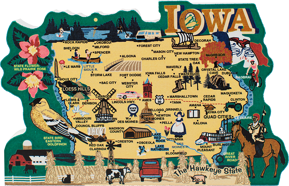 State Map, Iowa | The Cat\'s Meow Village