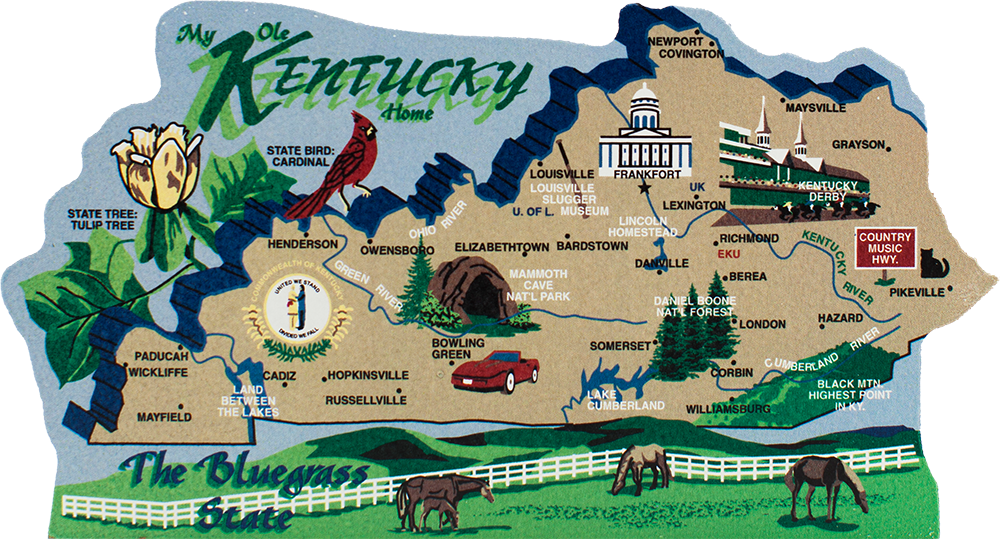 Kentucky On Usa Map.State Map Kentucky The Cat S Meow Village