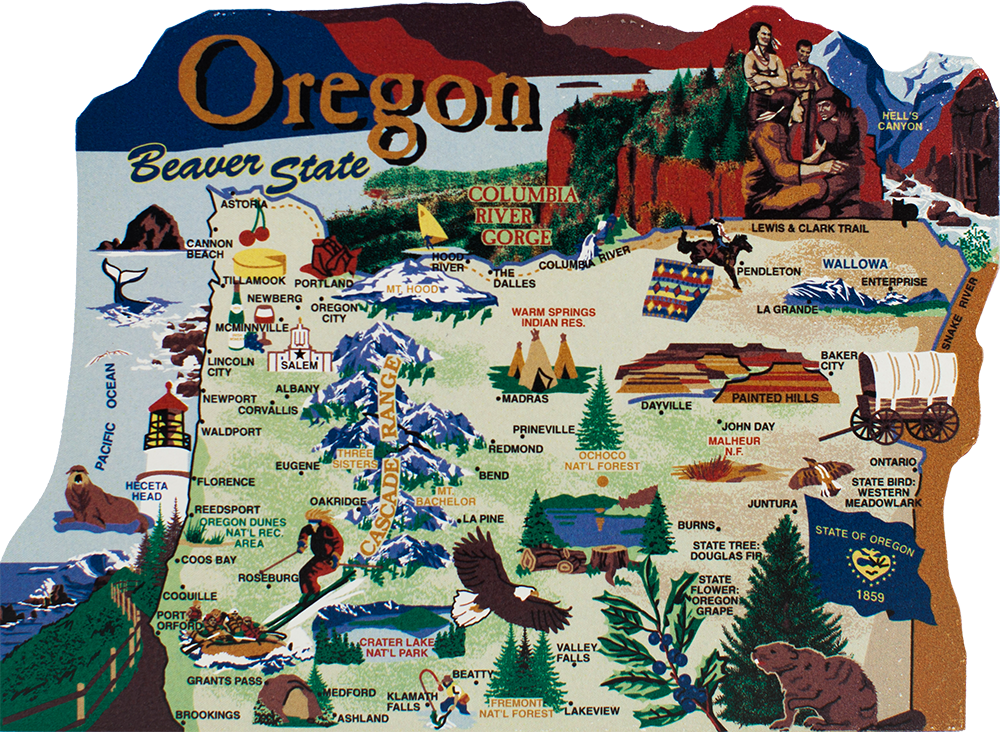 State Map Oregon The Cat S Meow Village