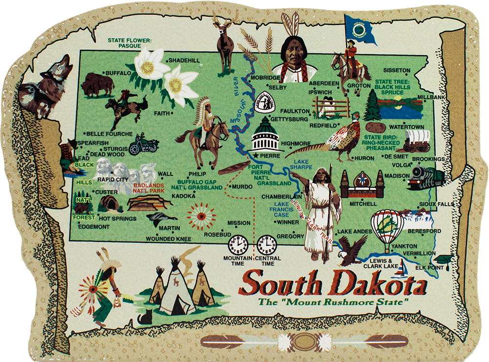 State Map South Dakota The Cats Meow Village