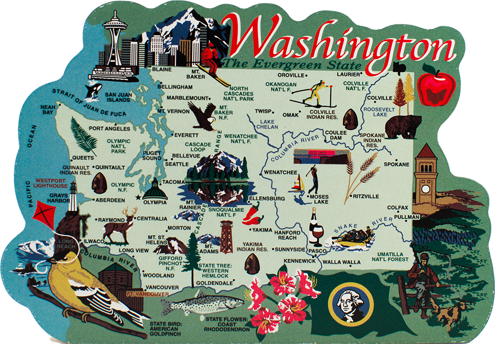 State Map Washington The Cats Meow Village - Us map with points of interest