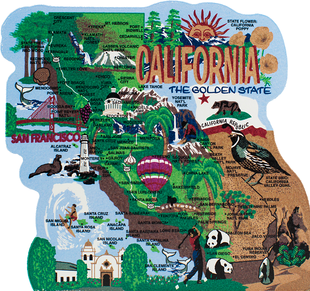 State Map California The Cat S Meow Village