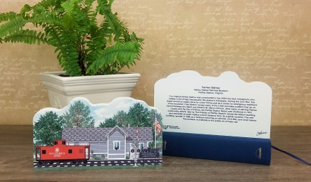 "The front and back of the Fairfax Station Railroad Museum handcrafted in 3/4"" thick wood by The Cat's Meow Village."