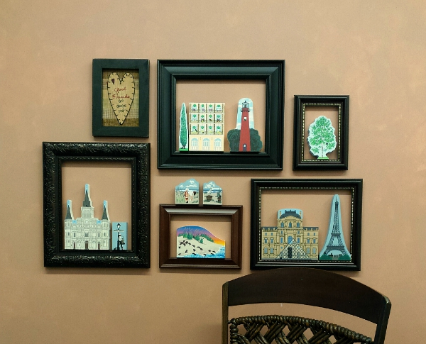 Arrange the frames any way you wish and fill with Cat's Meow keepsakes