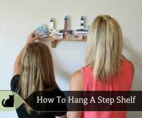 See how to hang a step shelf and fill it with Cat's Meows