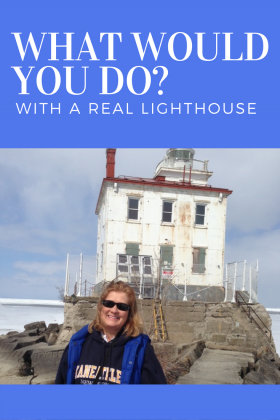 Sheila uses Cat's Meow replicas of her lighthouse to raise funds for renovation.