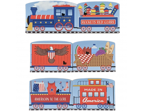 Show your American pride off with this red, white and blue train set.