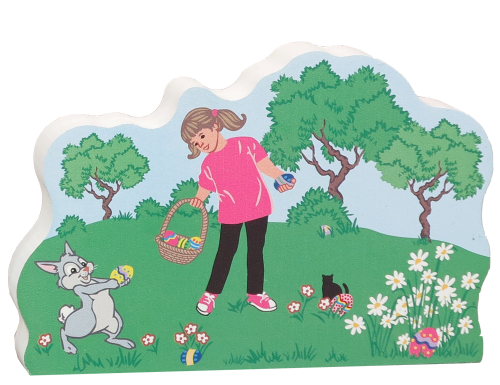 Bunny helps girl hunt for Easter eggs