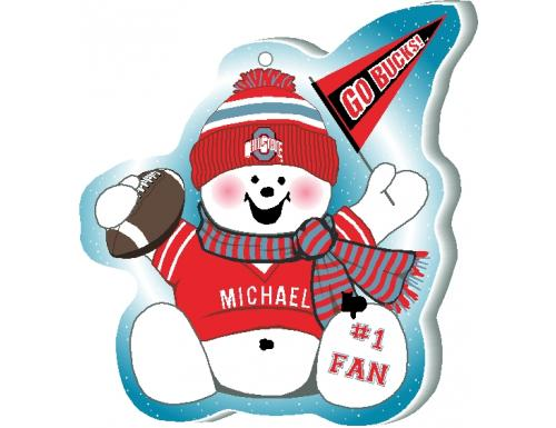 Snowman cheering for team
