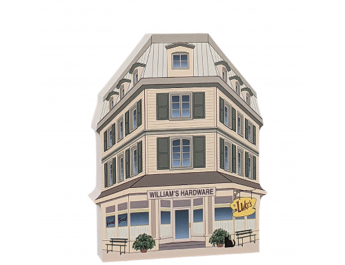 "Luke's Diner in Stars Hollow from Gilmore Girls show, handcrafted in 3/4"" thick wood by The Cat's Meow Village."