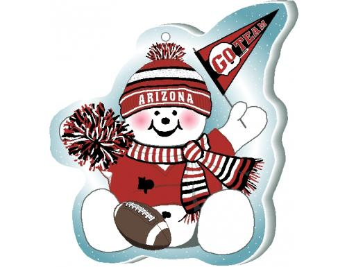 "Find a cute little snowman cheering on the same football team you do every weekend. Handcrafted in 3/4"" thick wood + ornaments, too, by the Cat's Meow Village in the USA."