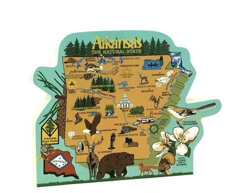"""Display your state pride with this colorful state map of Arkansas. We craft it from 3/4"""" thick wood at the Cat's Meow Village in the USA."""