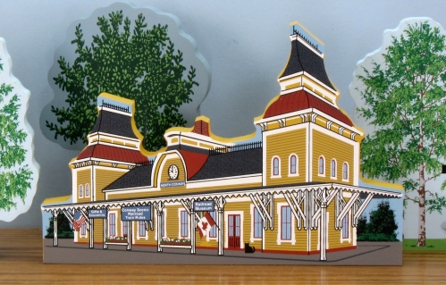 Example of a historic train station created by Cat's Meow Village for a historical society.