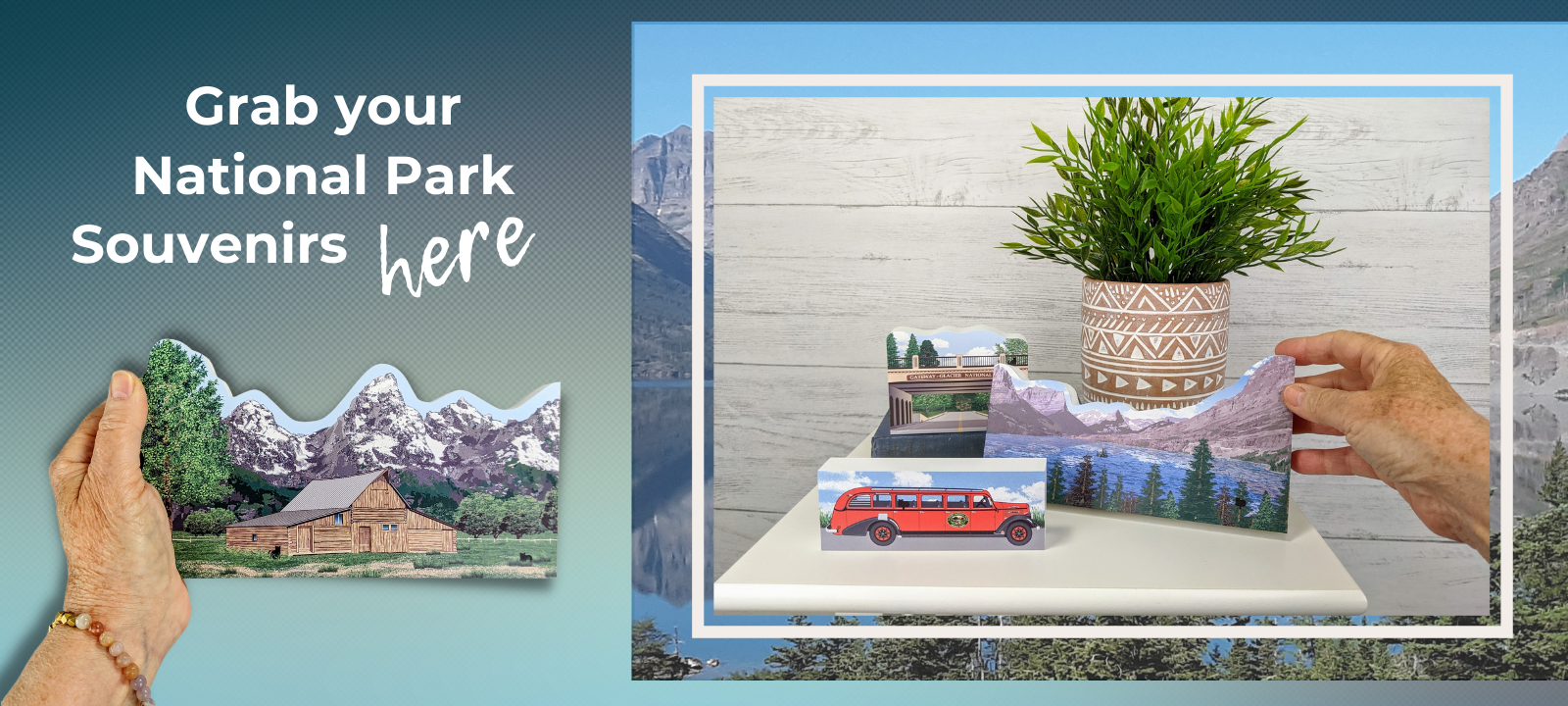 Grab up your National Park souvenirs here. Handcrafted by Cat's Meow Village in the USA.