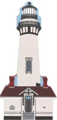 Handcrafted wooden shelf sitter of Pigeon Point Lighthouse, Pescadero, CA - by The Cat's Meow Village