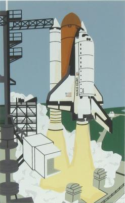 NASA, Space Shuttle launch. Orditers include Endeavour,  Discovery, Challenger, Columbia, Atlantis