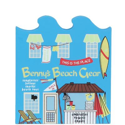 Wooden handcrafted keepsake of Benny's Beach Gear created by The Cat's Meow Village