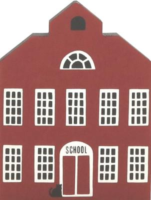 "Vintage School from Series I handcrafted from 3/4"" thick wood by The Cat's Meow Village in the USA"