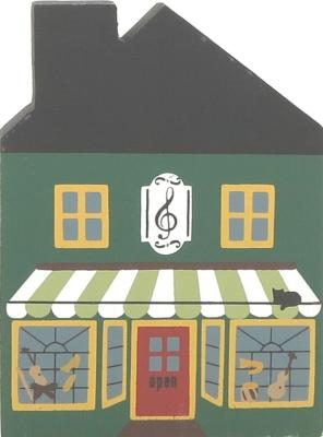 "Vintage Music Shop from Series II handcrafted from 3/4"" thick wood by The Cat's Meow Village in the USA"