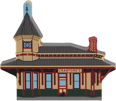 Handcrafted wooden shelf sitter of the Crawford Notch Depot created by The Cat's Meow Village