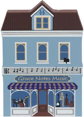 Wooden handcrafted keepsake of Grace Notes Music created by The Cat's Meow Village