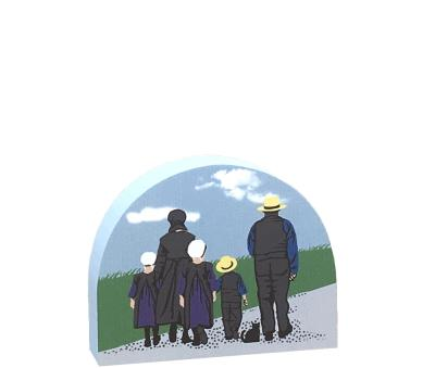 """Amish Family from Amish Country handcrafted by The Cat's Meow Village. Handcrafted in our Wooster, Ohio workshop form 3/4"""" thick wood."""