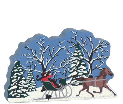Over The River And Through The Woods horse & sleigh scene. Part of a handcrafted wooden 4 pc set to display in your home. By The Cat's Meow Village.