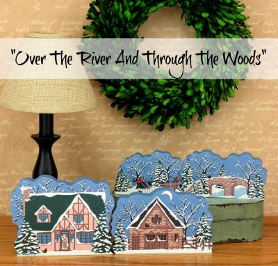 Set of 4 Over The River wooden Cat's Meow Village collection for your holiday decor.
