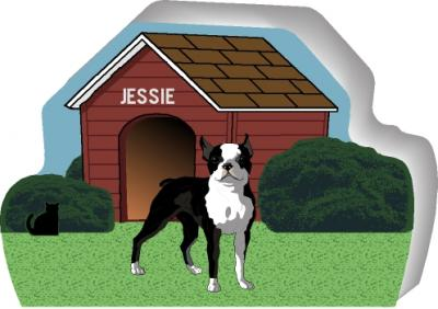 Boston Terrier can be personalized with your dog's name