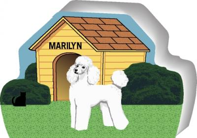 White Poodle can be personalized with your dog's name