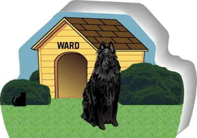 Cat's Meow shelf sitter of a Belgian Sheepdog you can personalize with your dog's name.