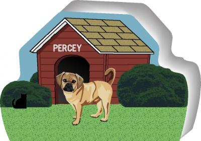Cat's Meow shelf sitter of a Puggle you can personalize with your dog's name.