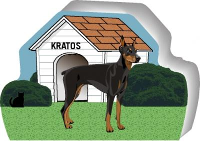Cat's Meow shelf sitter of a Doberman you can personalize with your dog's name.