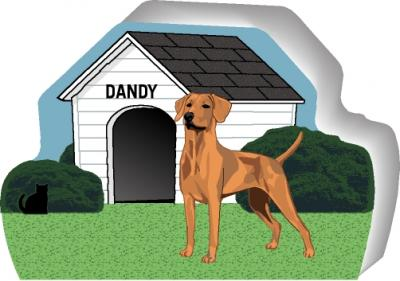 Cat's Meow shelf sitter of a Rhodesian Ridgeback you can personalize with your dog's name.