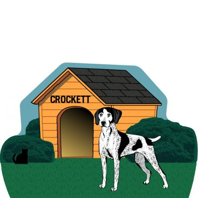 "Dog House, English Shorthair Pointer, PURRsonalize Me! Handcrafted in the USA 3/4"" thick wood by Cat's Meow Village."