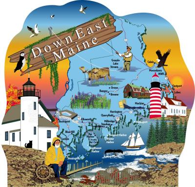 Cat's Meow Village map of Down East Maine representing the culture and lifestyle of the region.