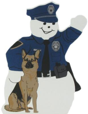 Police Snowman, law enforcement, police dog