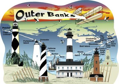 Cat's Meow map of the Outer Banks including lighthouses and Wright Brothers memorial.