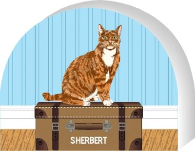 Cat's Meow Red Tabby Cat can be purrsonalized with your cat's name.
