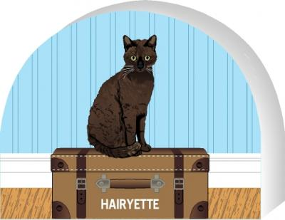 Cat's Meow shelf sitter of a Sable Burmese, you can personalize with your cats name.
