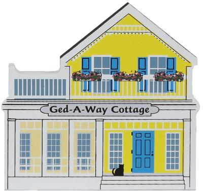 Bring the lake home with a Cat's Meow handcrafted wooden miniature of Ged-A-Way Cottage